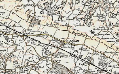 Old map of Lenham in 1897-1898