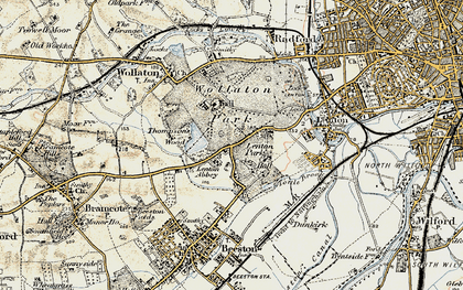 Old map of Lenton Abbey in 1902-1903