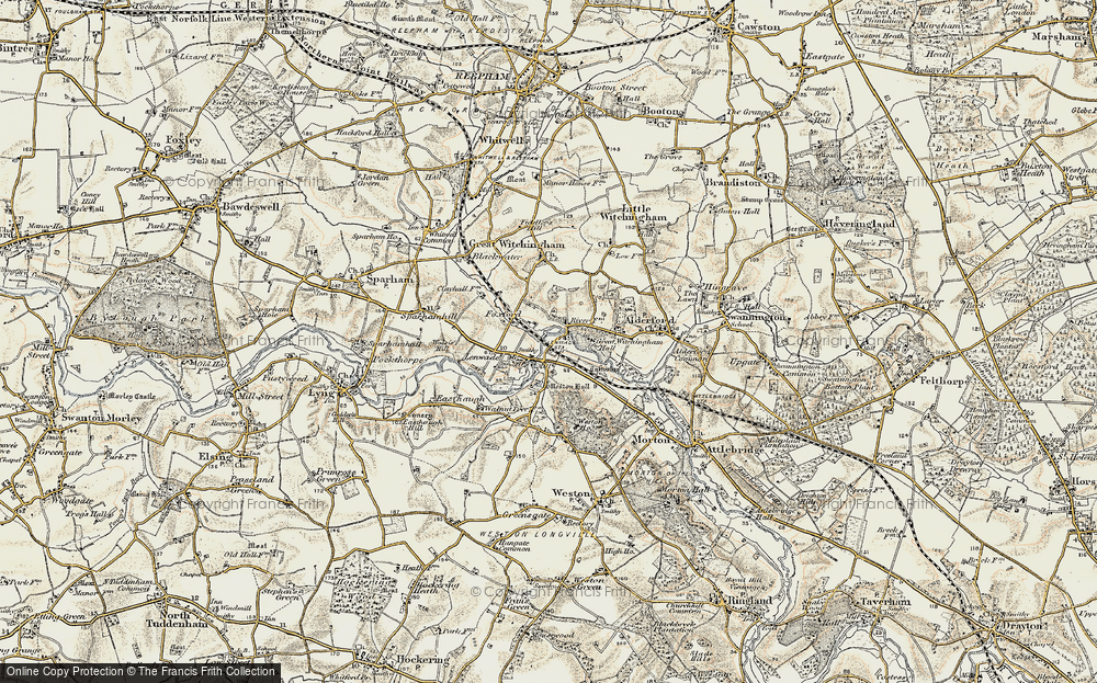 Old Map of Lenwade, 1901-1902 in 1901-1902