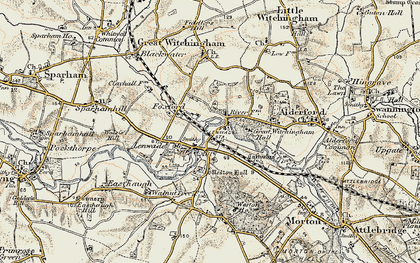Old map of Lenwade in 1901-1902
