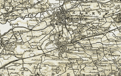 Old map of Lenzie in 1904-1905