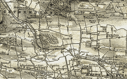 Old map of Leoch in 1907-1908
