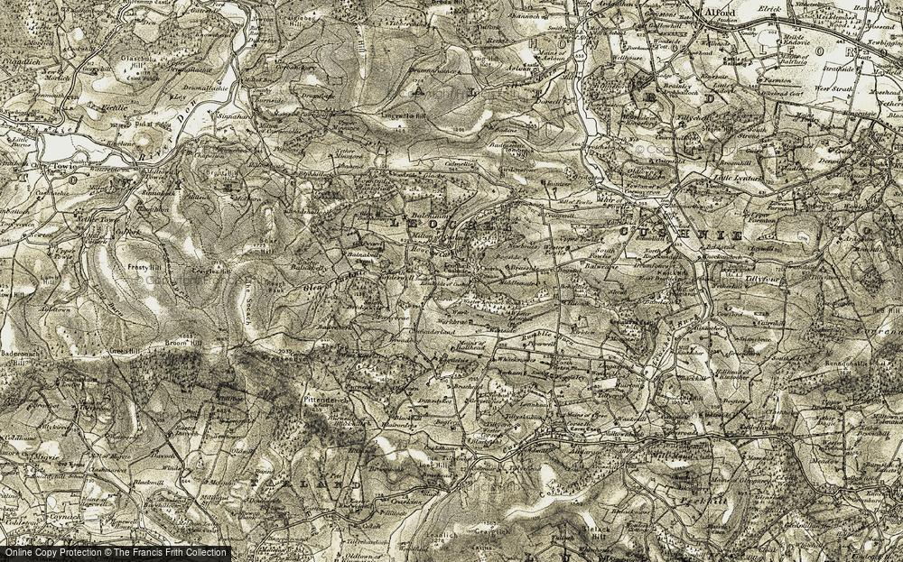 Old Map of Leochel-Cushnie, 1908-1909 in 1908-1909