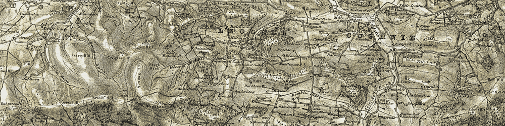 Old map of Wester Leochel Wood in 1908-1909