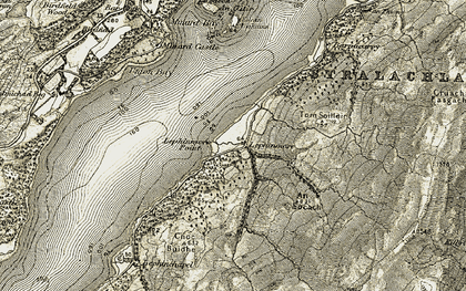 Old map of Lephinmore Point in 1906-1907