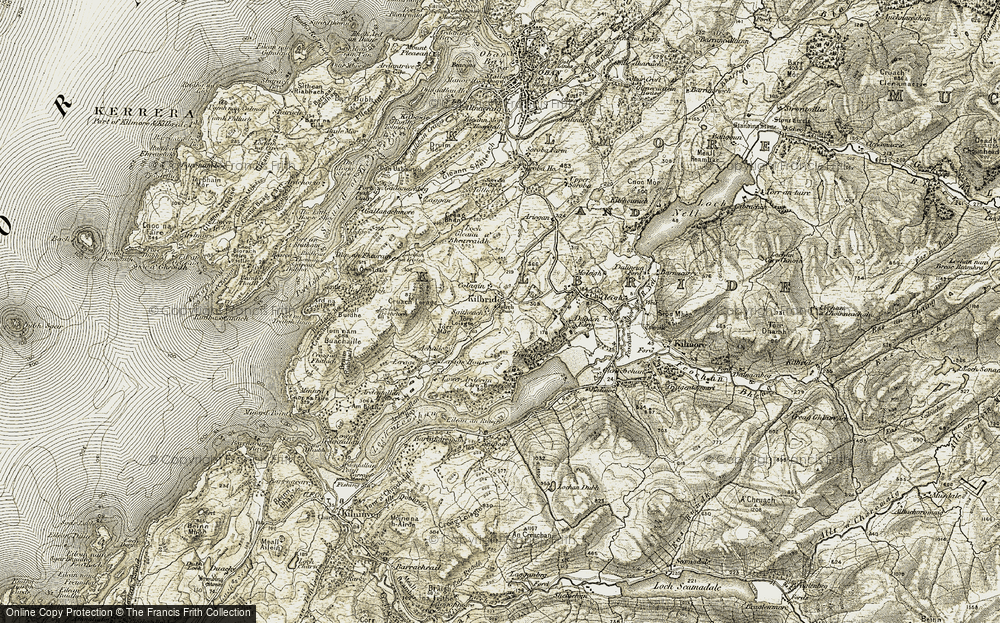 Old Map of Historic Map covering Allt Criche in 1906-1907