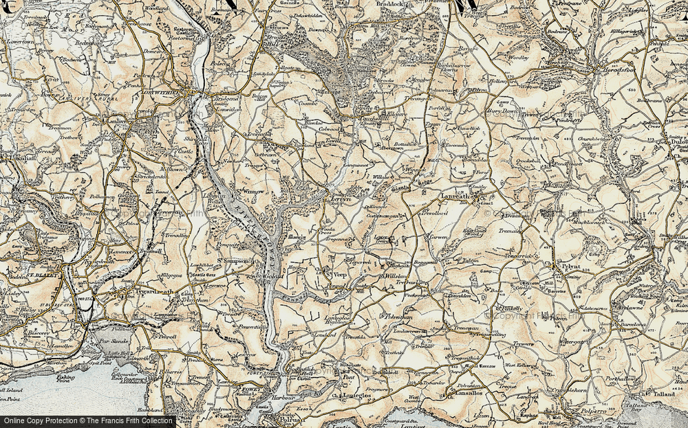 Old Map of Historic Map covering Langunnett in 1900