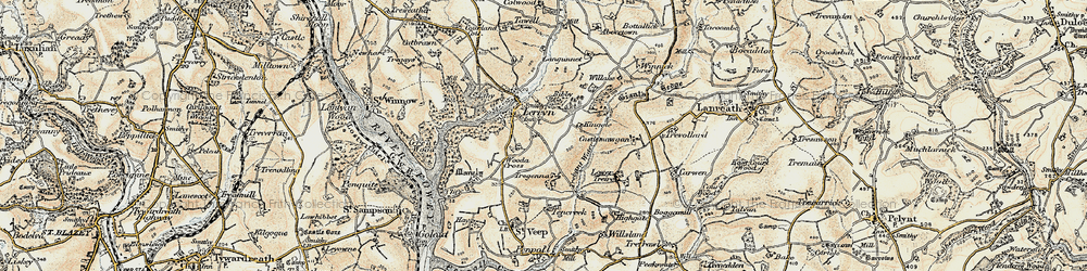 Old map of Collon in 1900