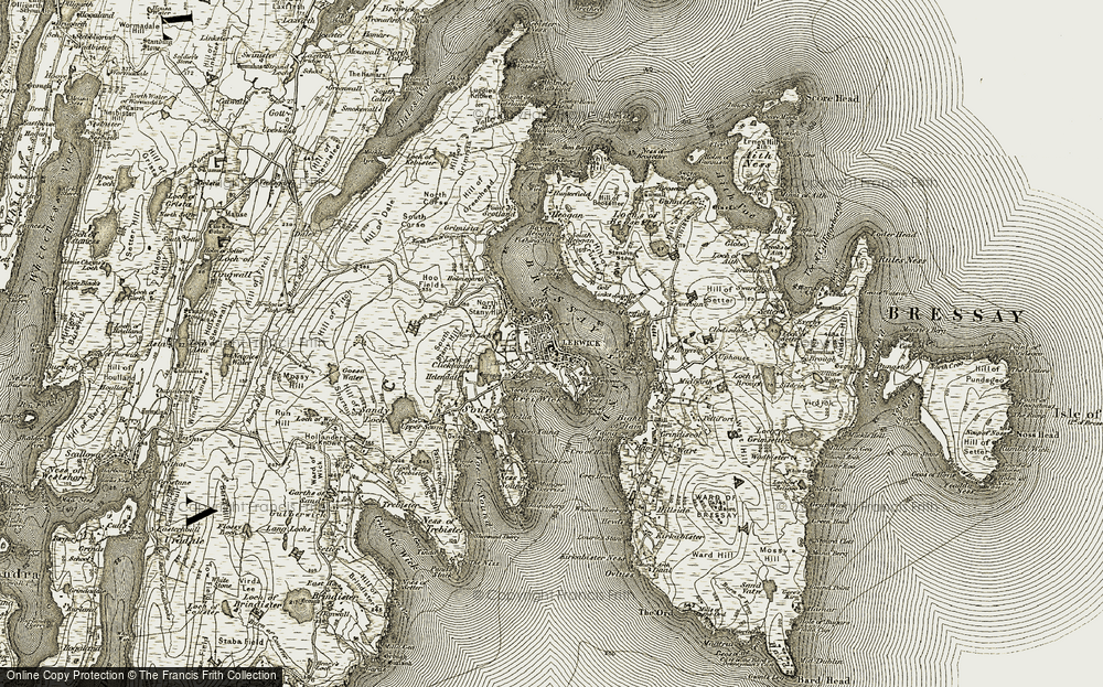 Old Map of Lerwick, 1911-1912 in 1911-1912