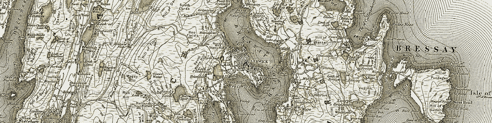 Old map of Lerwick in 1911-1912