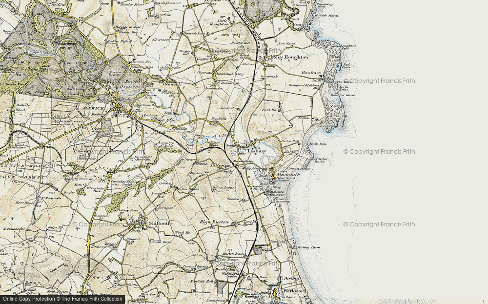 Old Map of Lesbury, 1901-1903 in 1901-1903