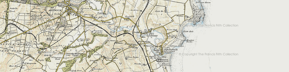 Old map of Lesbury in 1901-1903