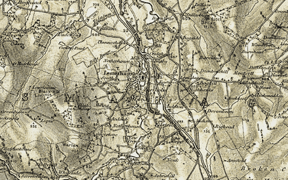 Old map of Lesmahagow in 1904-1905