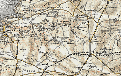 Old map of Lesnewth in 1900