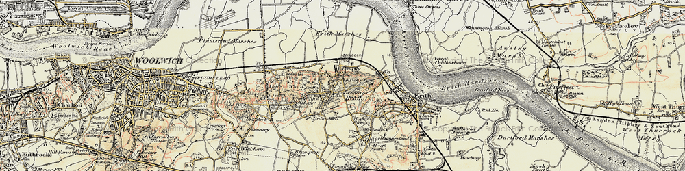 Old map of Lessness Heath in 1898
