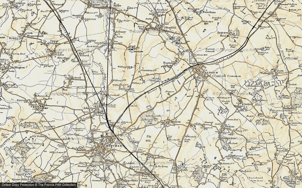 Old Map of Letchworth Garden City, 1898-1899 in 1898-1899