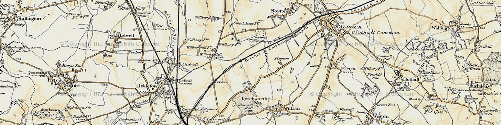 Old map of Letchworth Garden City in 1898-1899