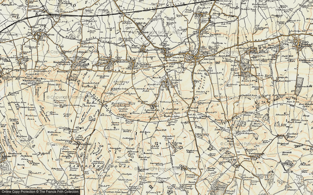 Old Map of Letcombe Bassett, 1897-1900 in 1897-1900