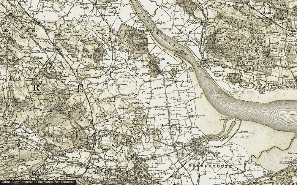 Old Map of Historic Map covering Airth Castle in 1904-1906