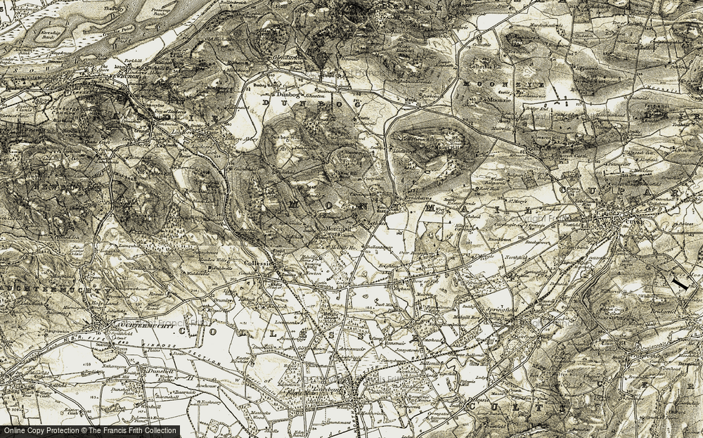 Old Map of Historic Map covering Ballantager in 1906-1908