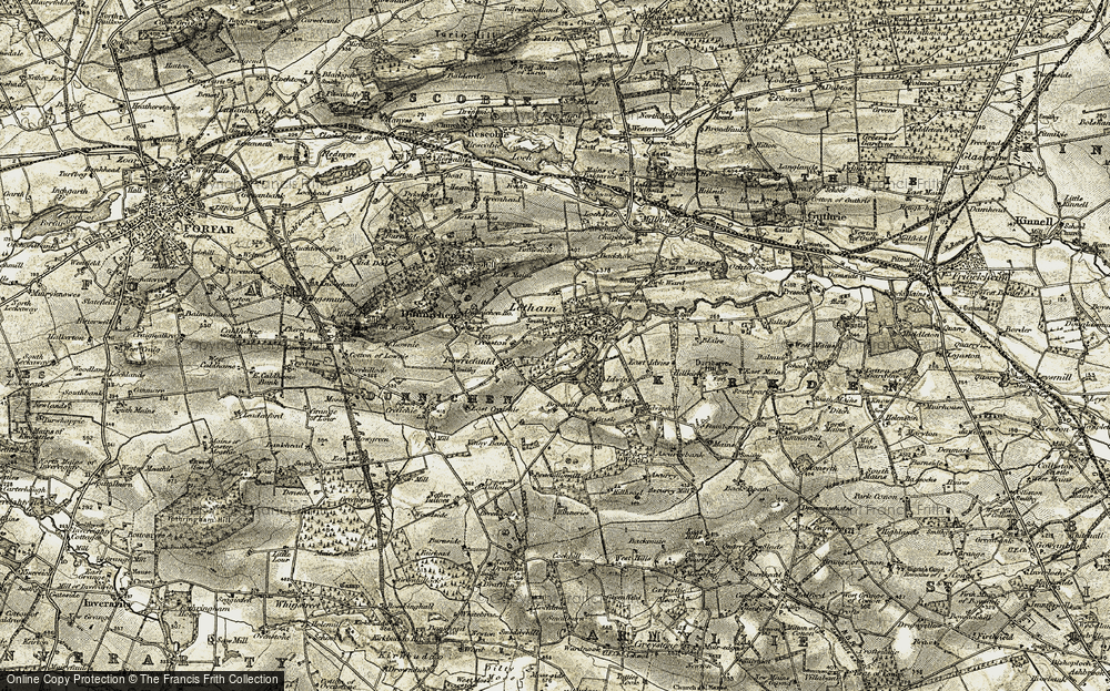 Old Map of Letham, 1907-1908 in 1907-1908