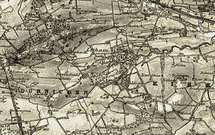 Old map of Letham in 1907-1908