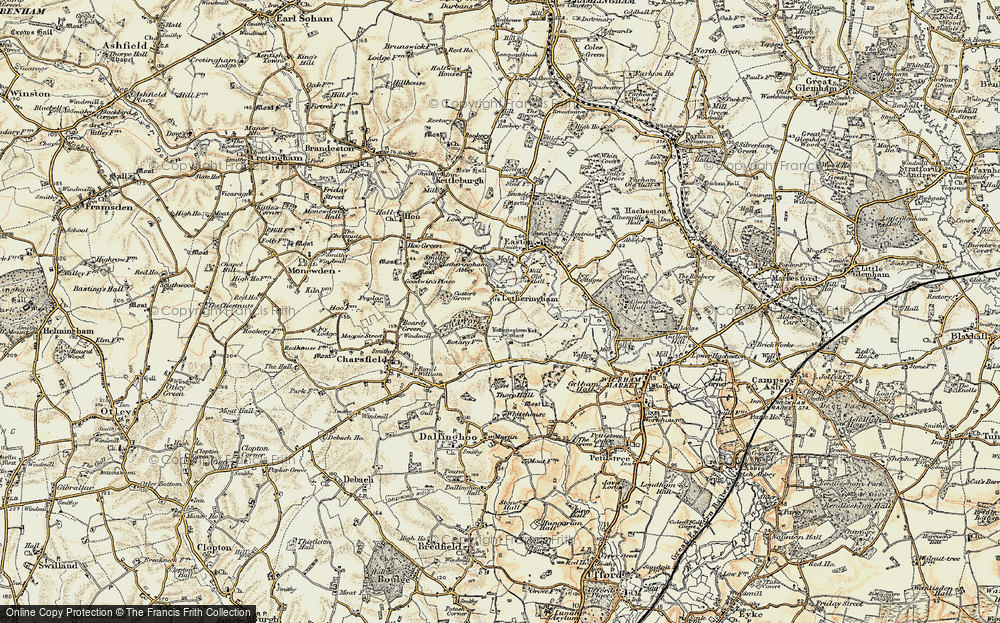 Old Map of Letheringham, 1898-1901 in 1898-1901