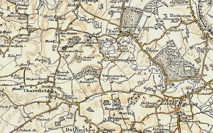 Old map of Letheringham Lodge in 1898-1901