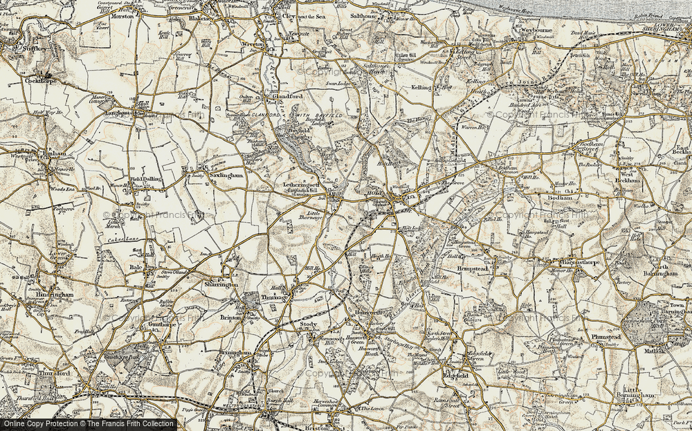 Old Map of Letheringsett, 1901-1902 in 1901-1902