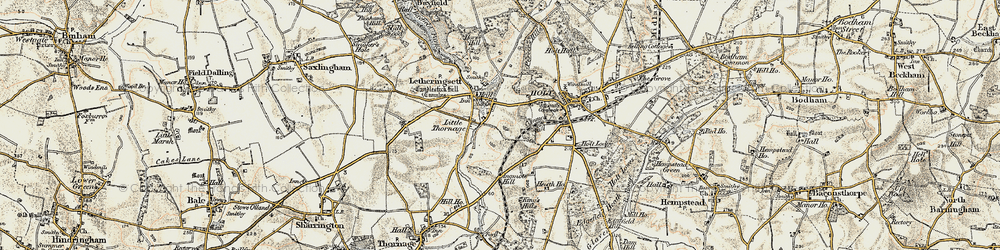 Old map of Letheringsett in 1901-1902