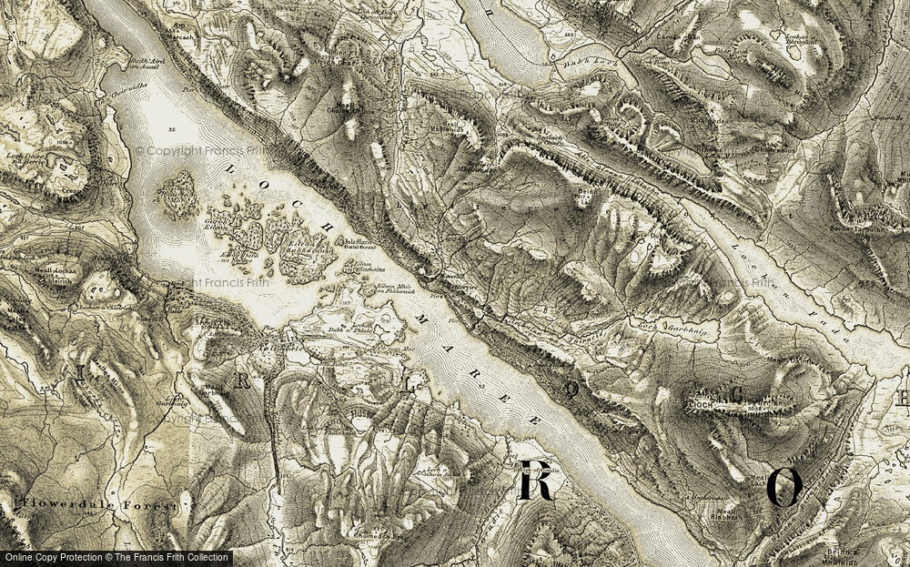 Old Map of Historic Map covering Letterewe Forest in 1908-1909