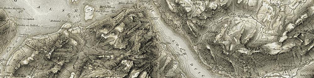 Old map of Allt Mòr Dhruideigh in 1908-1909