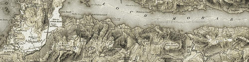 Old map of Allt Lochan Feith a' Mhadaidh in 1908