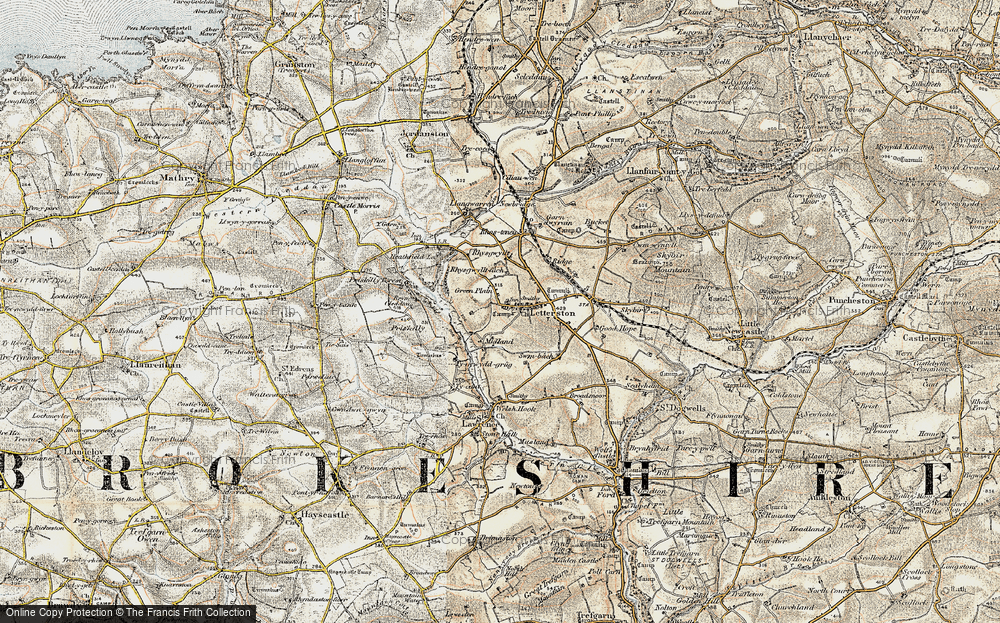 Old Map of Letterston, 1901-1912 in 1901-1912