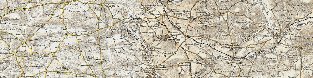 Old map of Letterston in 1901-1912