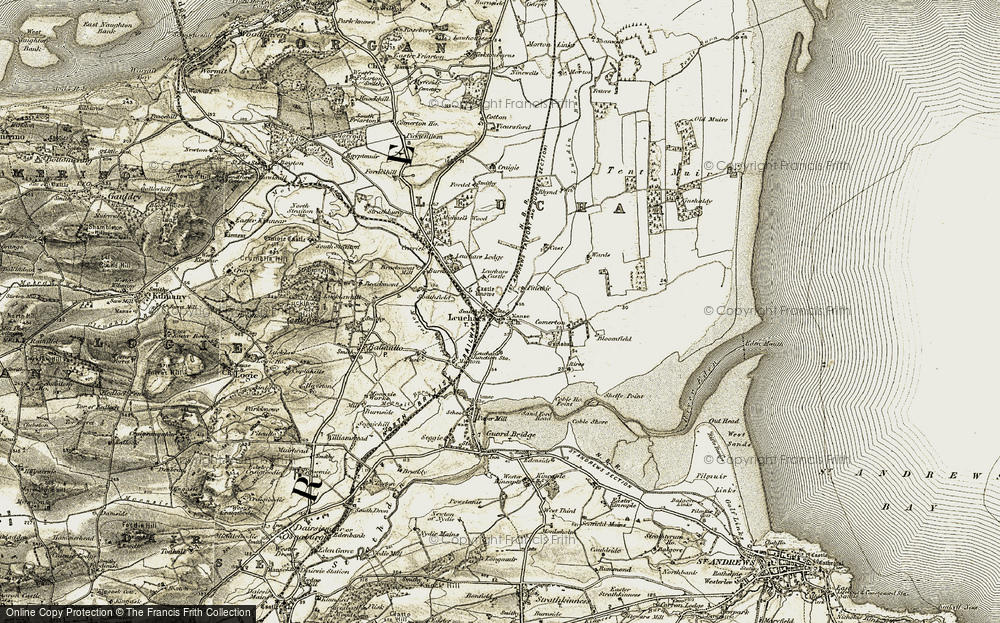 Old Map of Leuchars, 1906-1908 in 1906-1908