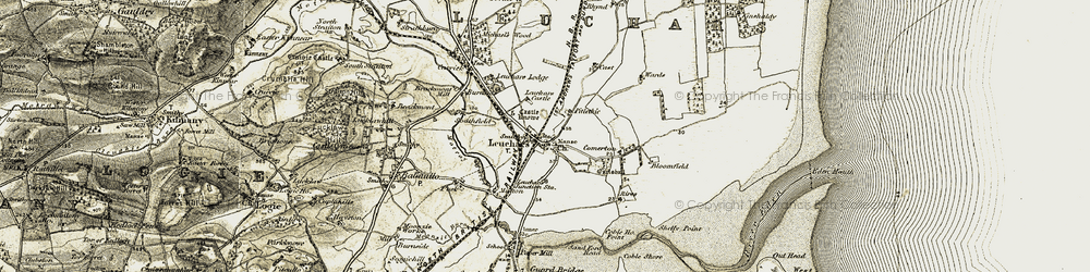 Old map of Leuchars in 1906-1908