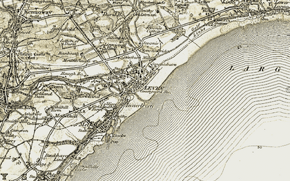 Old map of Leven in 1903-1908