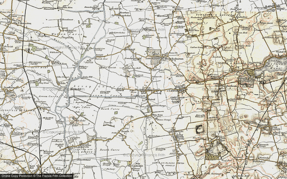 Old Map of Historic Map covering Leven Carrs in 1903-1908