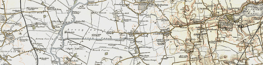 Old map of Leven Carrs in 1903-1908