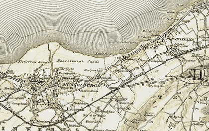 Old map of Levenhall in 1903-1904
