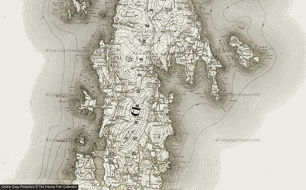 Old Map of Historic Map covering Levenwick Ness in 1911-1912