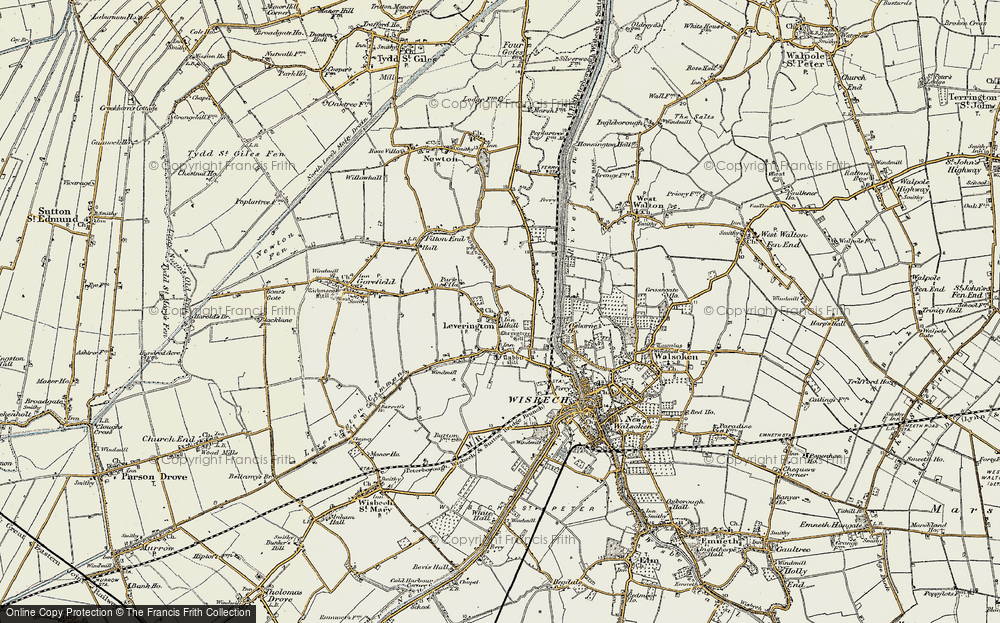 Old Map of Leverington, 1901-1902 in 1901-1902