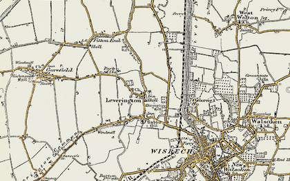 Old map of Leverington in 1901-1902
