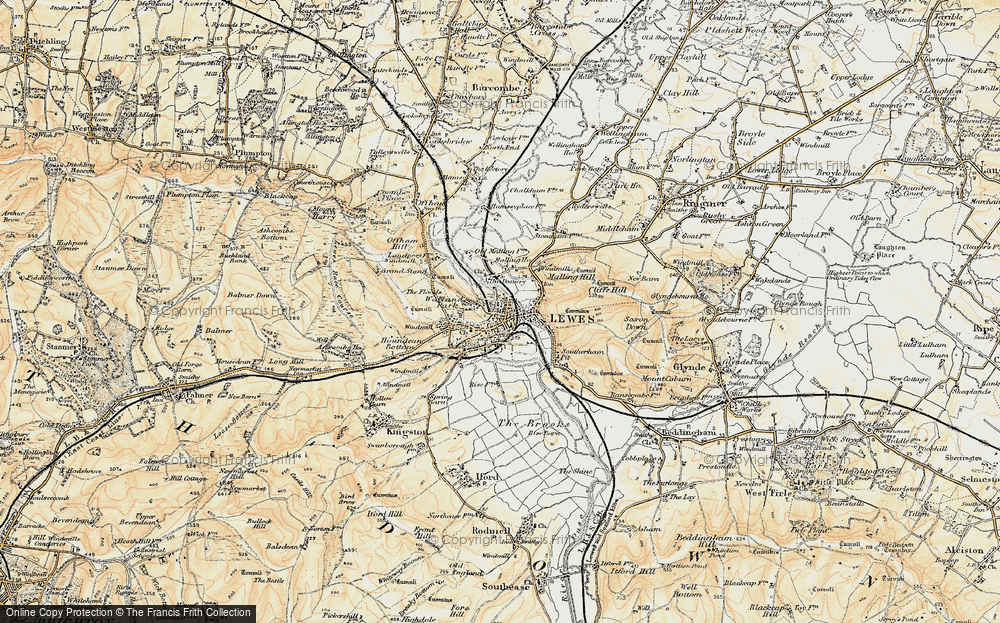 Old Map of Lewes, 1898 in 1898