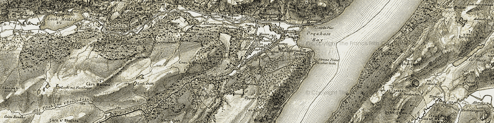 Old map of Woodend in 1908-1912