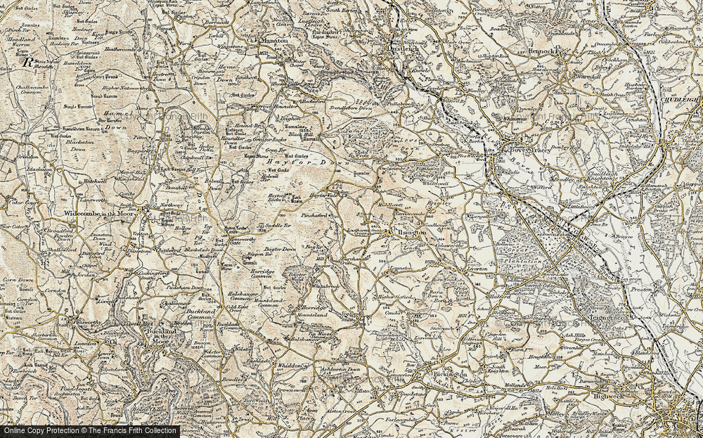 Old Map of Historic Map covering Bag Tor in 1899-1900