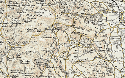 Old map of Bag Tor in 1899-1900