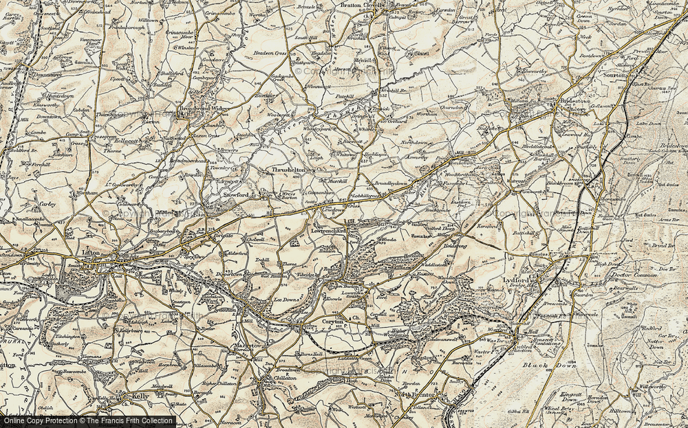 Old Map of Lewtrenchard, 1900 in 1900