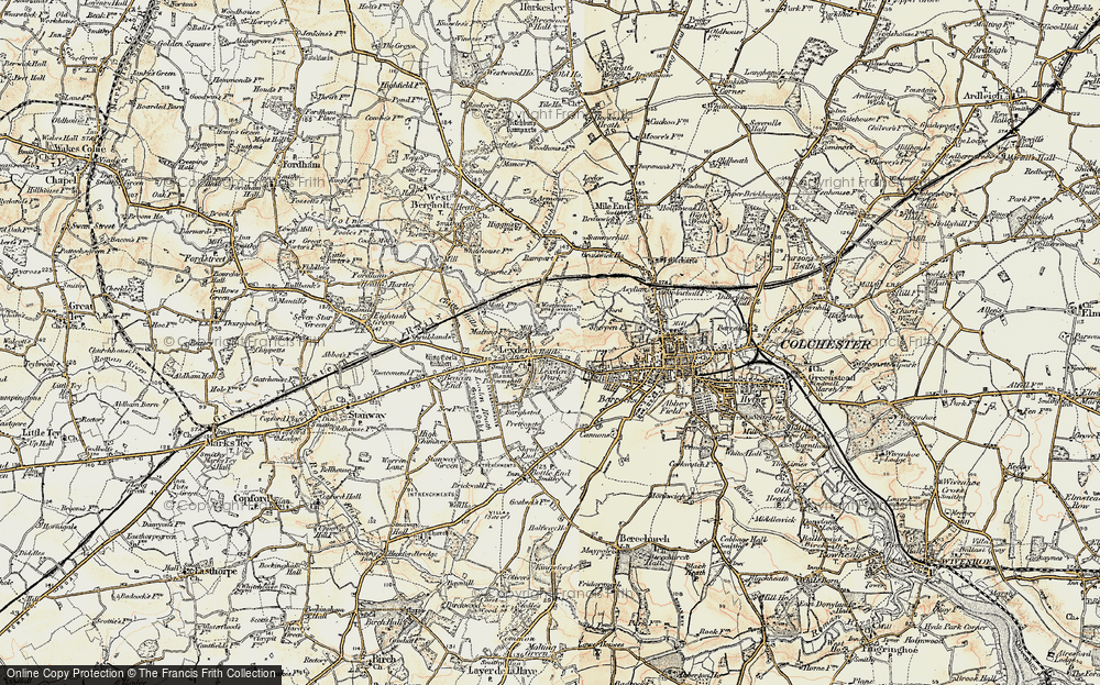 Old Map of Lexden, 1898-1899 in 1898-1899